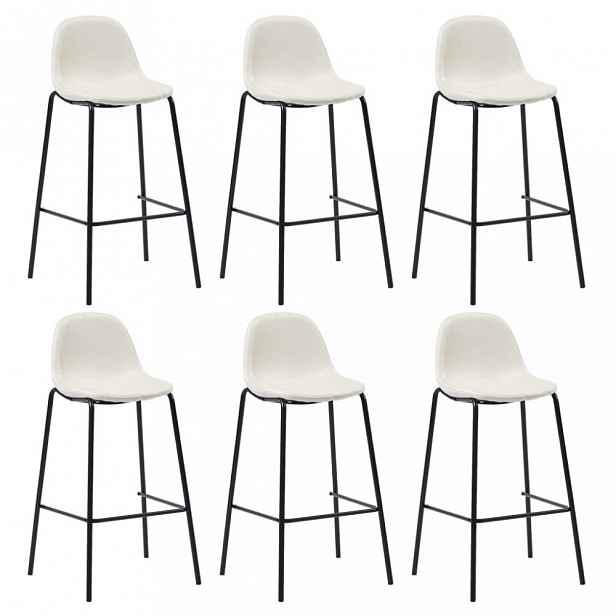 Barové židle 6ks textil / kov Dekorhome Krémová