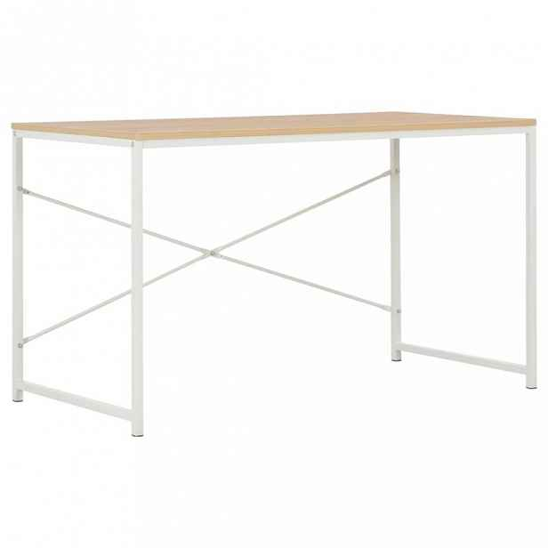 Psací stůl 120x60 cm dřevotříska / ocel Dekorhome Bílá / dub