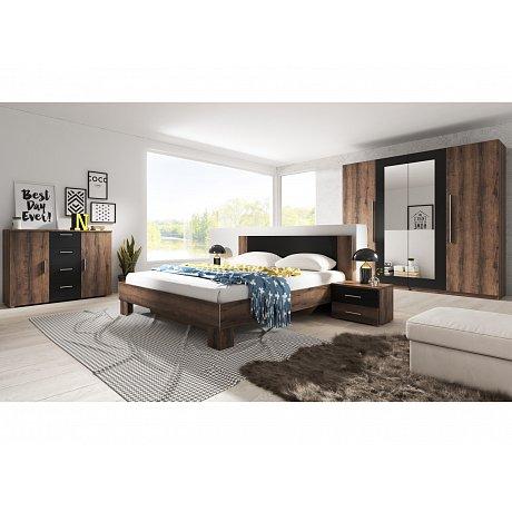 VERA ložnice s postelí 160x200, dub monastery/černá