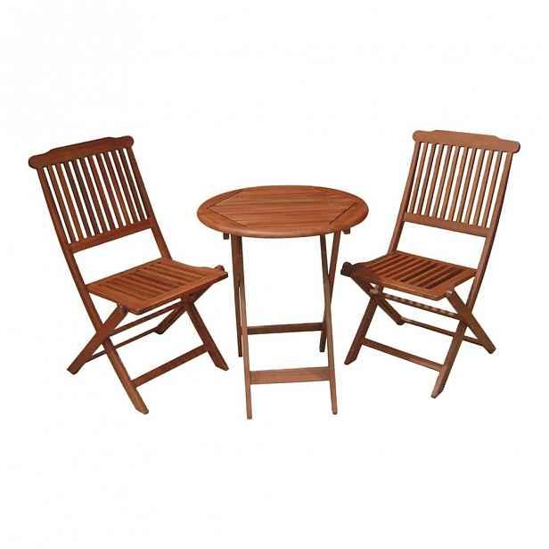 Set 2 balkonových židlí a stolu z eukalyptového dřeva