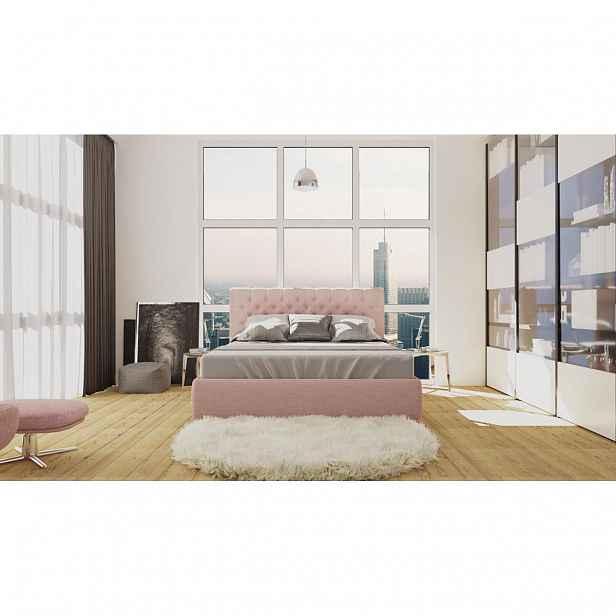 Elegantní čalouněná postel Orlando FRAME 160x200 cm v barvě Sofia Powder Pink 08 s dominantním čelem
