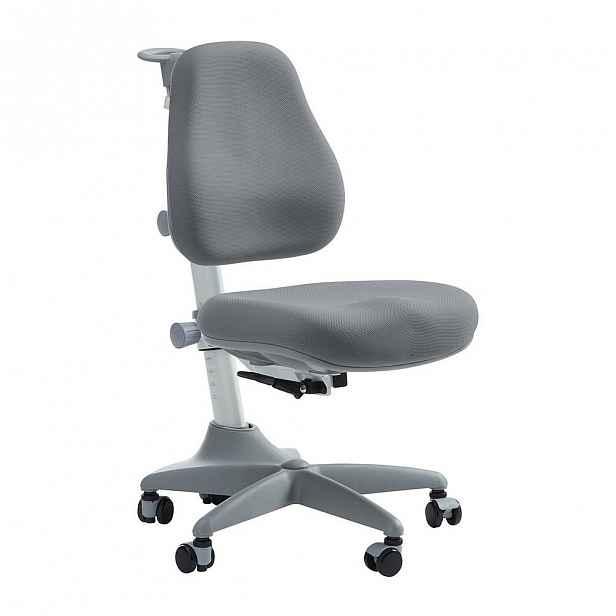 Šedá dětská otočná židle na kolečkách Flexa Verto, 7 - 12 let