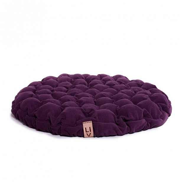 Fialový sedací polštářek s masážními míčky