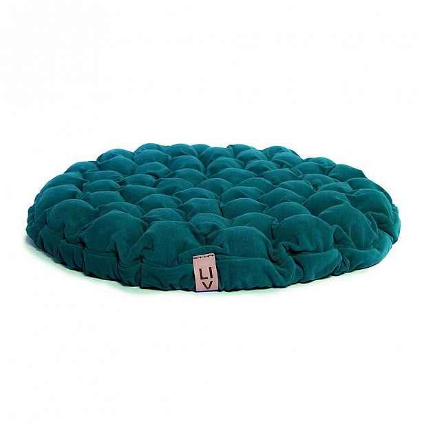 Tyrkysový sedací polštářek s masážními míčky