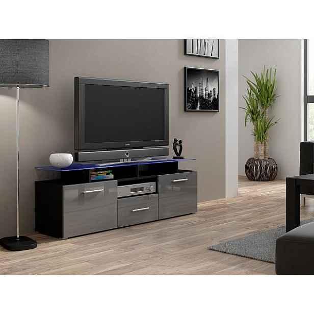 TV stolek Evora Mini černý šedý lesk, modré osvětlení