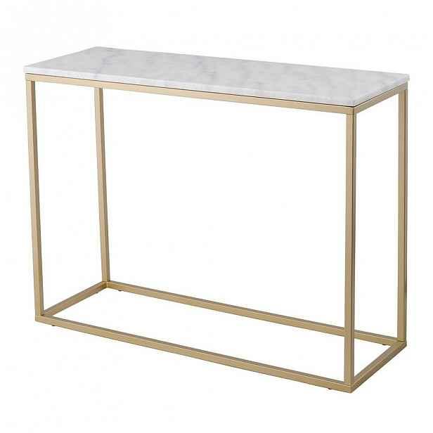 Mramorový konzolový stolek s konstrukcí v barvě mosazi RGE Accent, výška75cm