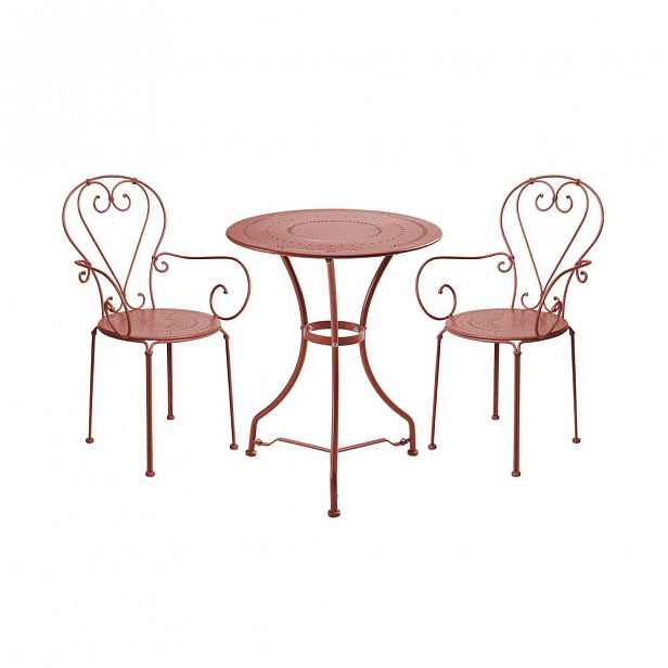 Set zahradního nábytku pro 2 osoby - tm. červená
