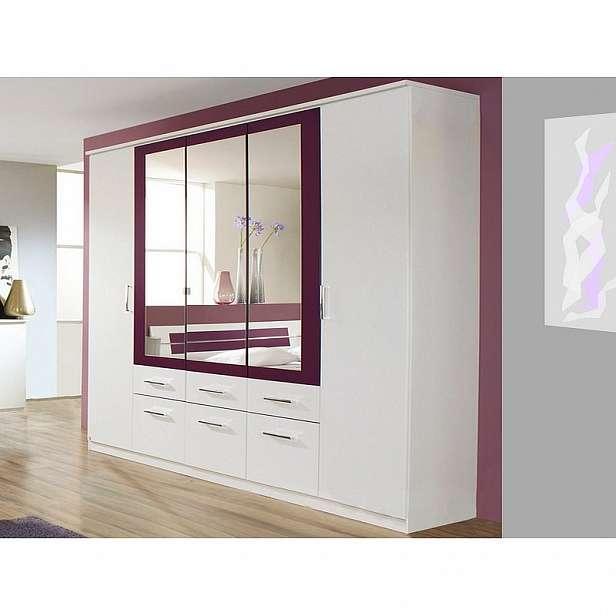 Šatní skříň Burano, 225 cm, bílá/fialová