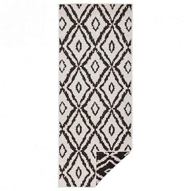 Hnědo-bílý venkovní koberec Bougari Rio, 80x 350 cm