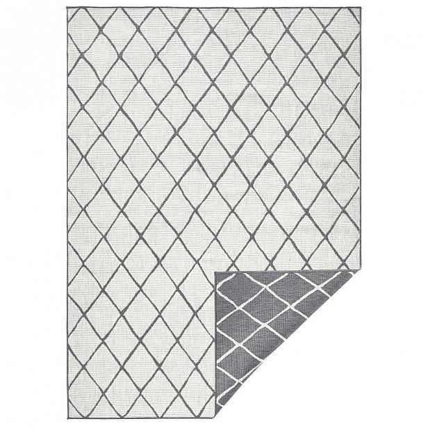 Šedo-krémový venkovní koberec Bougari Malaga, 80x150 cm