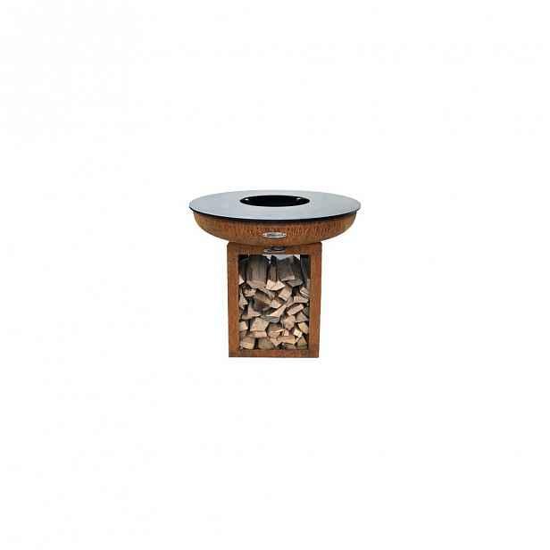 Hnědý venkovní gril na dřevěné uhlí Remundi Carus S, výška 72 cm