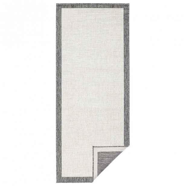 Šedo-krémový venkovní koberec Bougari Panama, 80x250 cm