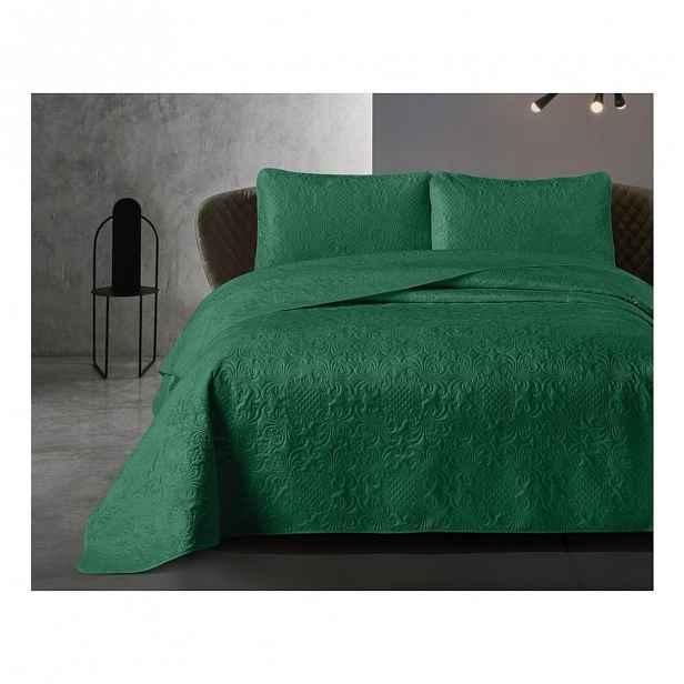 Zelený přehoz z mikroperkálu se dvěma povlaky na polštář Dreamhouse Velvet Clara,180x250cm
