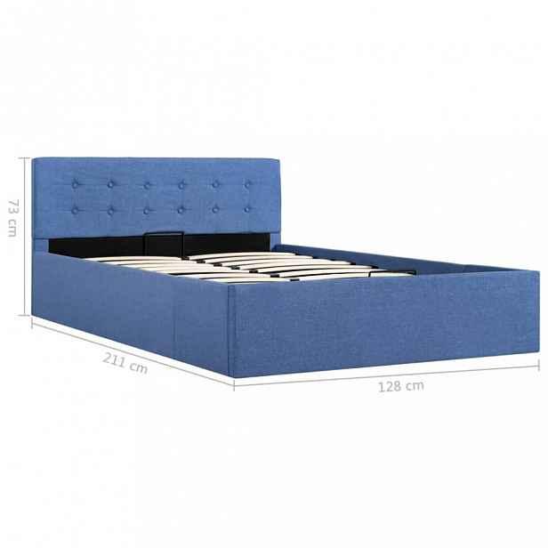 Postel s úložným prostorem modrá Dekorhome 120 x 200 cm