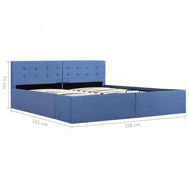 Postel s úložným prostorem modrá Dekorhome 160 x 200 cm