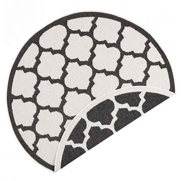 Černo-krémový venkovní koberec Bougari Palermo, ⌀ 200 cm