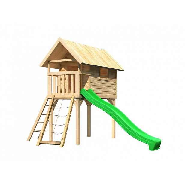 Dětská hrací věž se skluzavkou Dekorhome Zelená
