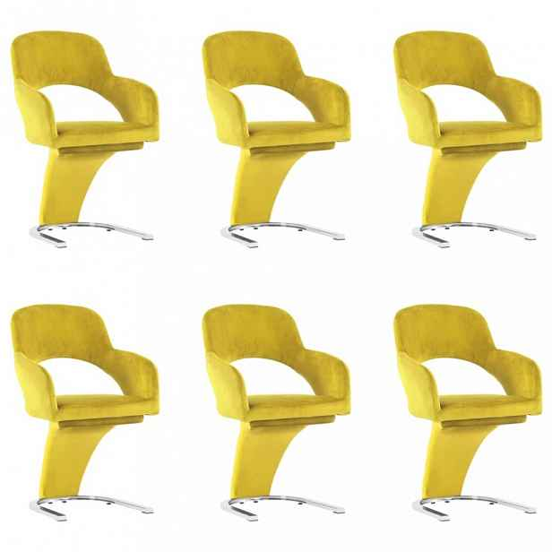Jídelní židle 6 ks samet / chrom Dekorhome Žlutá