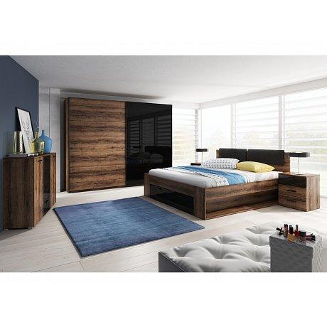 Ložnice GALAXY s postelí 160x200 cm, dub monastery/černý lesk
