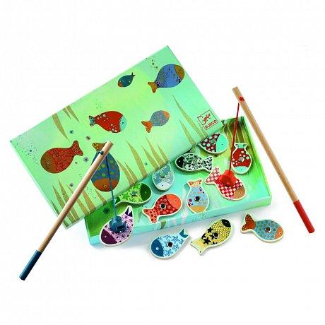 Dětská dřevěná hra s magnetickými rybkami Djeco