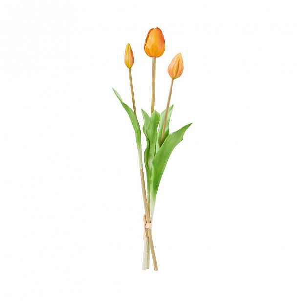 "Butlers FLORISTA Tulipán ""Real Touch"" 47 cm set 3 ks - oranžová"