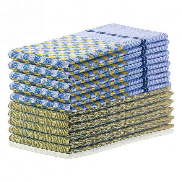 Sada 10 žluto-modrých bavlněných utěrek DecoKing Louie, 50 x 70 cm