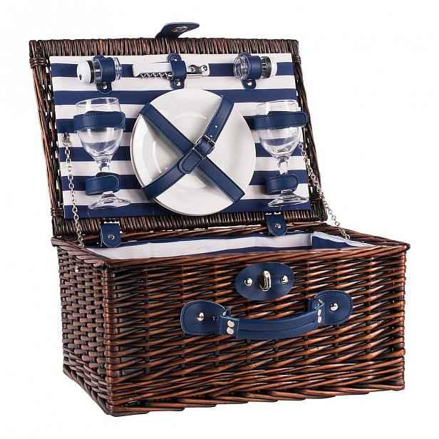 Pruhovaný proutěný piknikový koš s vybavením pro 2 osoby Navigate Basket