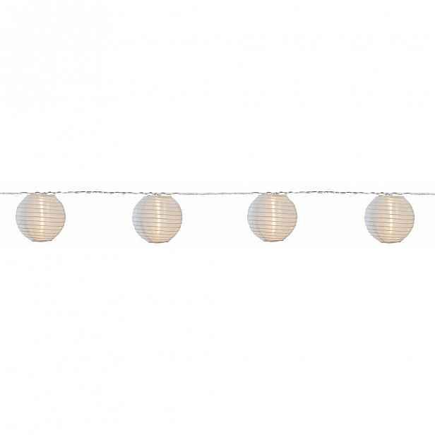 Bílý světelný LED řetěz s lampiony vhodný do exteriéru BestSeason Festival, 10 světýlek