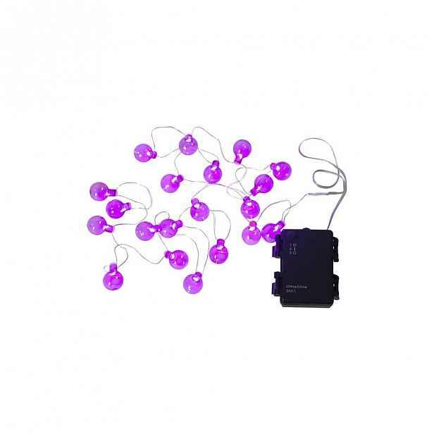 Růžový venkovní světelný LED řetěz s motivem žárovek BestSeason Bulb, 20světýlek