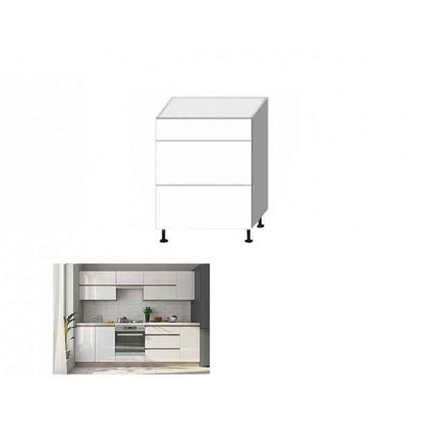 Skříňka dolní třízásuvková, bílý vysoký lesk HG, LINE WHITE