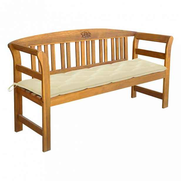 Zahradní lavice s poduškou 157 cm Krémová