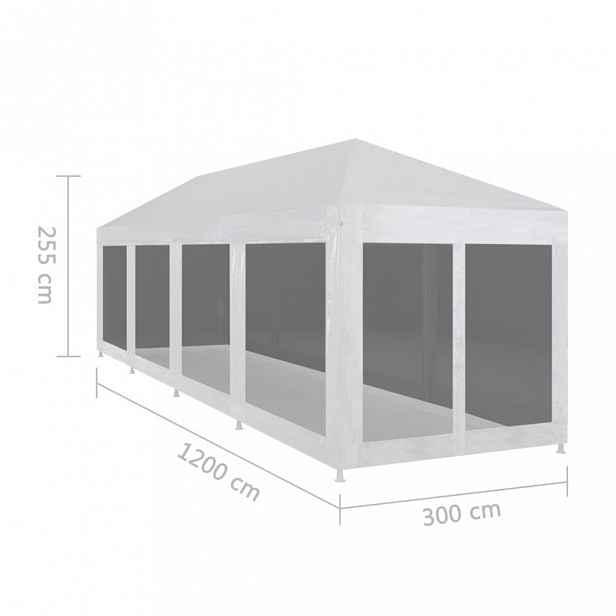 Zahradní party stan s 10 bočnicemi bílá / černá Dekorhome 12 m