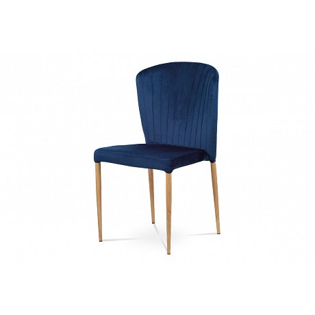 Jídelní židle - modrá sametová látka, kovová podnož, 3D dekor dub CT-614 BLUE4