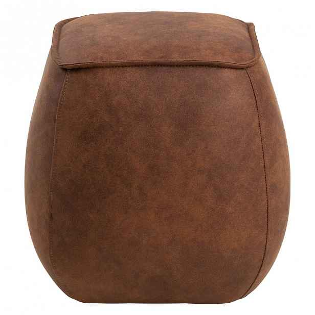 Koňakově hnědý puf z imitace kůže Actona Mie, 40x40 cm