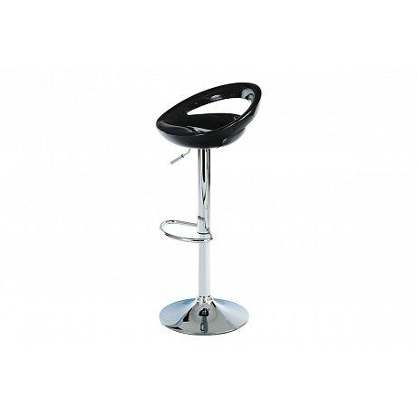 Barová židle černý plast / chrom AUB-404 BK