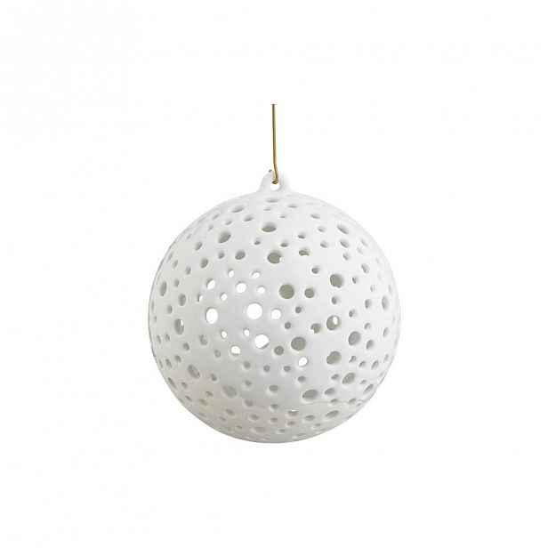 Bílé vánoční závěsný svícen z kostního porcelánu Kähler Design Nobili, ⌀ 12 cm