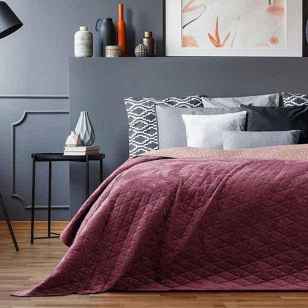 Růžový přehoz přes postel AmeliaHome Laila Mauve, 220x240cm