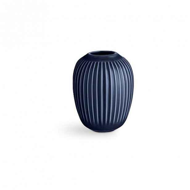Tmavě modrá kameninová váza Kähler Design Hammershoi,výška 10 cm