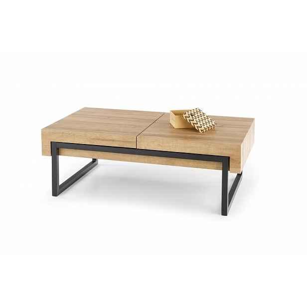 Konferenční stolek CLARA dub zlatý / černá Halmar