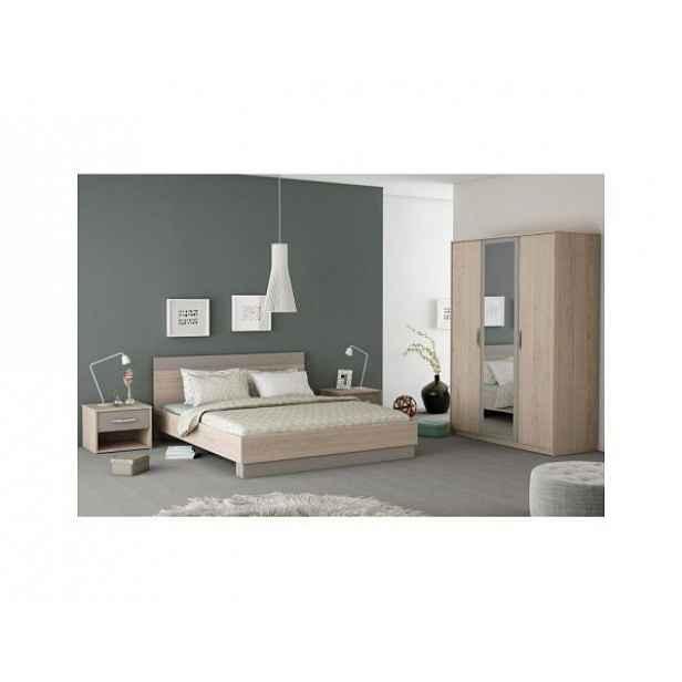 Ložnicový komplet GRAPHIC (skříň + postel + 2x noční stolek), dub arizona / šedá