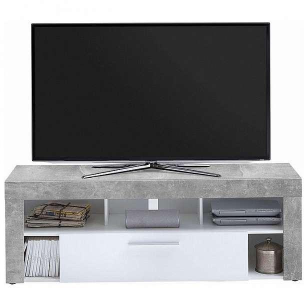 TV stolek Vibio 1, beton/bílá
