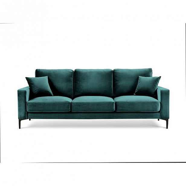 Tyrkysově modrá sametová pohovka Kooko Home Harmony, 220 cm