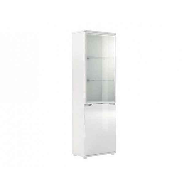 Luxusní vitrína s LED osvětlením ADONIS AS10, bílá vysoký lesk