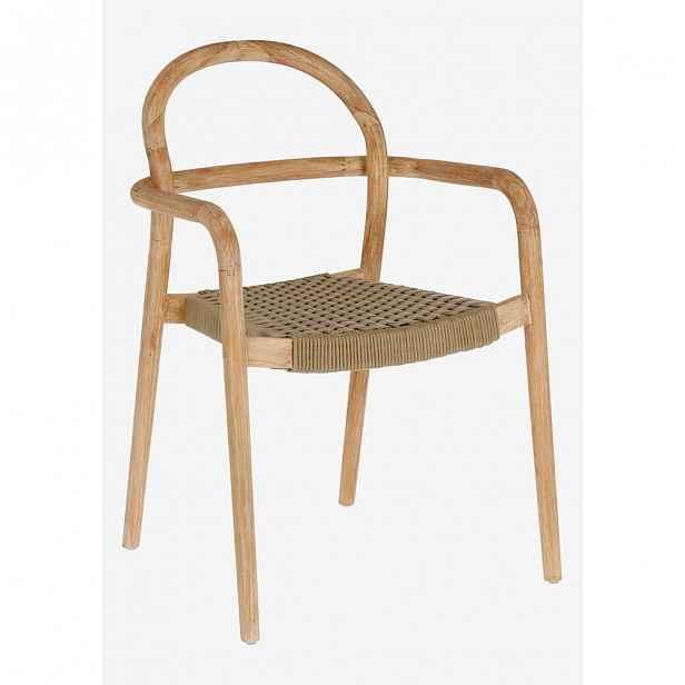 Zahradní židle z eukalyptového dřeva s béžovým výpletem La Forma Sheryl