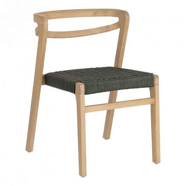 Zahradní židle z eukalyptového dřeva s tmavě zeleným výpletem La Forma Ezilda