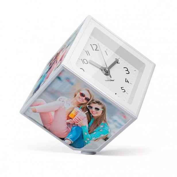 Rotující fotokostka s hodinami BALVI Photo-Clock 10x10cm HELCEL