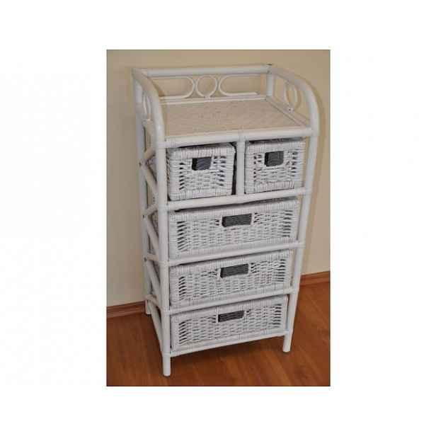 Ratanový prádelník 3+2 zásuvky - bílý ratan