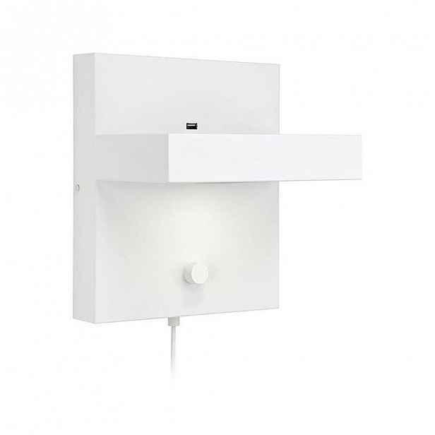 Bílá nástěnná lampa s poličkou a USB nabíjecí stanicí Markslöjd Kubik