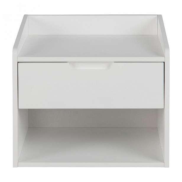 Bílý noční stolek s 1 šuplíkem Actona Dimeo
