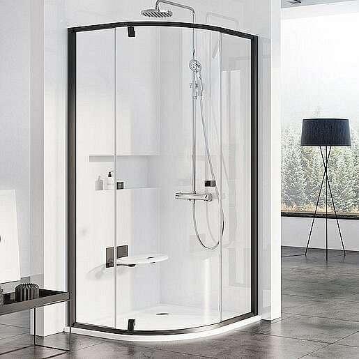 Sprchové dveře čtvrtkruh 90x90x190 cm Ravak Pivot černá matná 37677300Z1